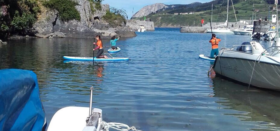 Paddle rides on the Marine of mundaka
